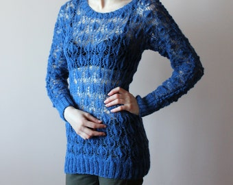 hand knit pullover, blue pullover, mohair pullover, hand knit sweater, openwork pullover,  delicate pullover, knit jumper, knitted pullover