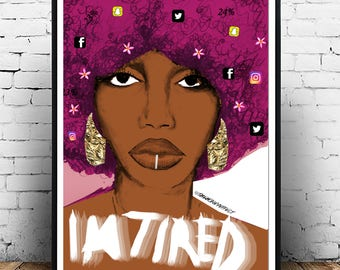 Im Tired, In Fuschia (The Afrotherapy Collection), Poster