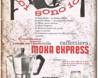 "Bialetti Moka Express Vintage Coffee Ad 10"" X 7"" Reproduction Metal Sign N114"