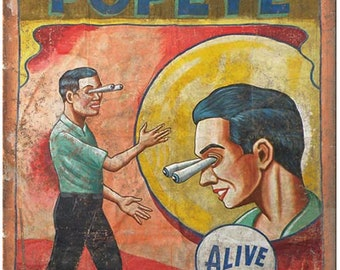 """Alive Circus Carnival Popeye Poster 10"""" X 7"""" Reproduction Metal Sign ZH110"""