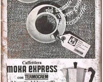 "Moka Express Bialetti Vintage Ad 10"" X 7"" Reproduction Metal Sign N106"