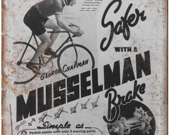 "Musselman Brake Vintage 10 Speed Bike Ad 10"" x 7"" Reproduction Metal Sign B281"