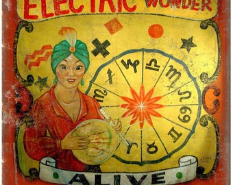 """Alive Circus Carnival Electric Wonder 10"""" X 7"""" Reproduction Metal Sign ZH72"""