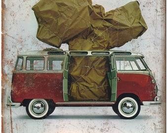 "RARE Vintage Volkswagen Bus Ad 10"" x 7"" Reproduction Metal Sign"
