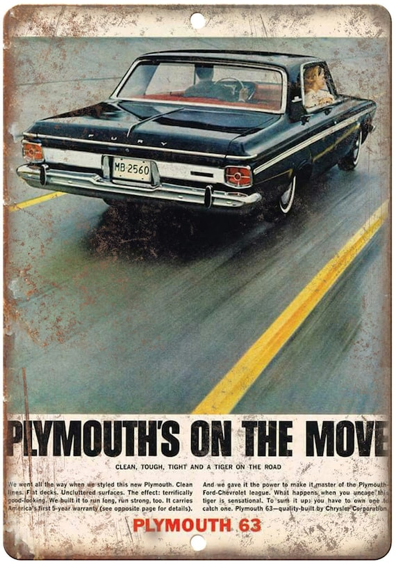 1963 Plymouth Fury RARE Ad 10 X 7 Reproduction