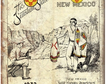 """1932 New Mexico Sunshine State Roadmap Cover 10""""x7"""" Reproduction Metal Sign A137"""
