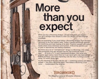 "Browning Shotguns Rifles Vintage Ad 10"" x 7"" Reproduction Metal Sign"