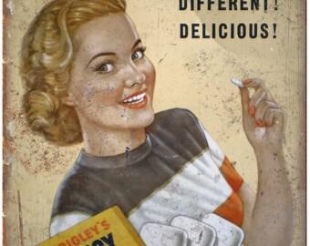 "Wrigleys Juicy Fruit Chewing Gum Vintage Ad 10""X7"" Reproduction Metal Sign N92"