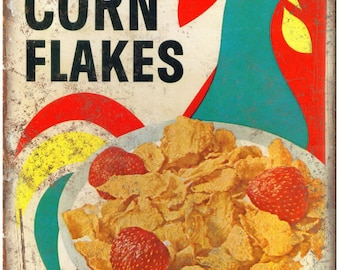 "Kelloggs Corn Flakes Vintage Cereal Box Art 10""X7"" Reproduction Metal Sign N44"