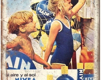 "Nivea Suntan Lotion Vintage Ad 10"" X 7"" Reproduction Metal Sign ZF136"