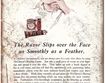 """McClintons Shaving Cream Vintage Ad 10"""" X 7"""" Reproduction Metal Sign ZF50"""
