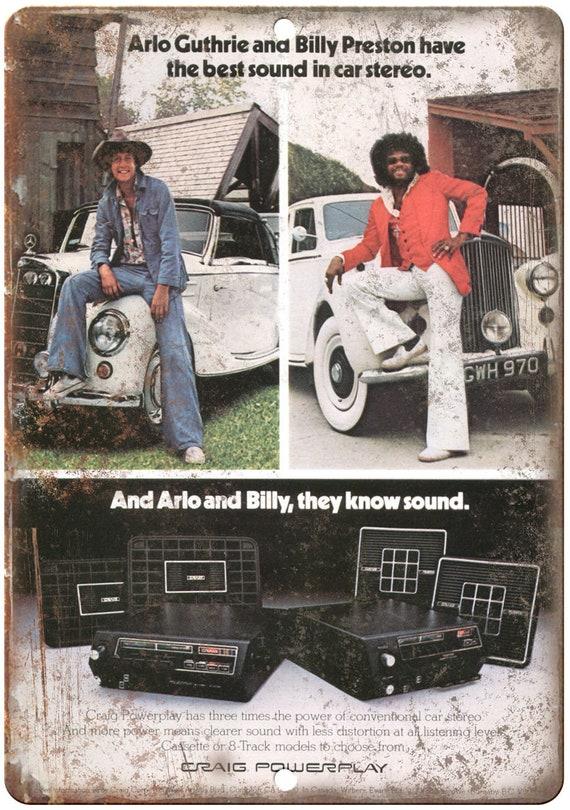 """Craig Powerplay voiture stéréo Arlo Guthrie Billy Preston 10 """"x 7» look Retro signe D12"""