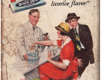 """1925 Black Jack Chewing Gum Licorice Flavor 10"""" X 7"""" Reproduction Metal Sign N73"""