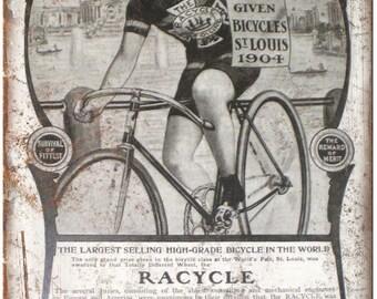 "Racycle St. Louis Vintage 10 Speed Bike 10"" x 7"" Reproduction Metal Sign B299"