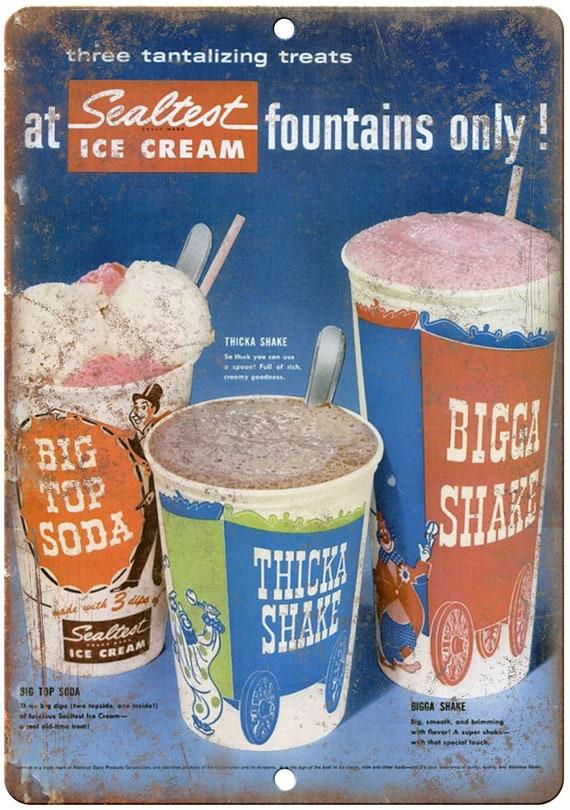 """Sealtest glace crème Ad rétro fontaine de soude 10 """"x 7"""" Reproduction signe en métal N33"""