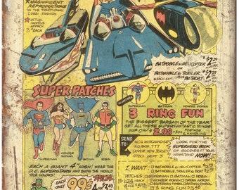 "Batmania Miniatures Vintage Comic Book Ad 10"" X 7"" Reproduction Metal Sign J110"