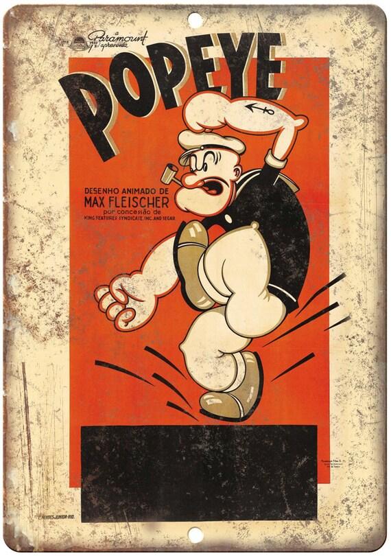"Popeye Paramount Pictures Max Fleischer Ad 10 ""X 7"" Reproduction signe en métal J223"