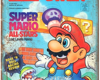 "Nintendo Power Super Mario All Stars Cover 10"" X 7"" Reproduction Metal Sign G22"