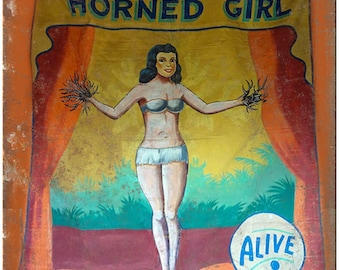 """Booptee Horned Girl ALIVE Circus Carnival 10"""" X 7"""" Reproduction Metal Sign ZH73"""