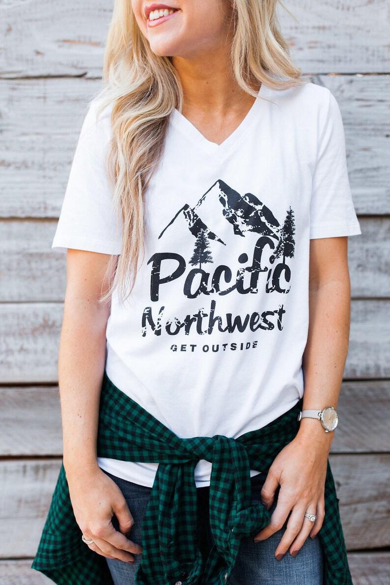 Pacific Northwest Get Outside V Neck T shirt. PNW Clothing. PNW Tee. Washington. Oregon Shirt. Idaho Shirt. PNW Gear. The Great Outdoors