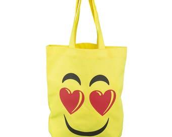 "Cotton bag Shoppingbag, shoulder bag yellow, smiley ""smiling face with Heart eyes"", Emojivariante"