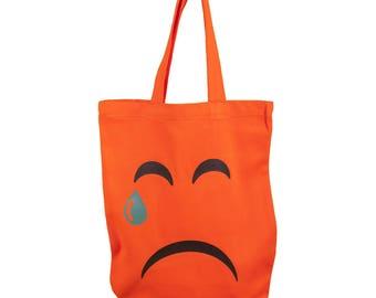 """Cotton bag Shoppingbag, shoulder bag orange, smiley """"The Face of the eyes"""", Emojivariante"""