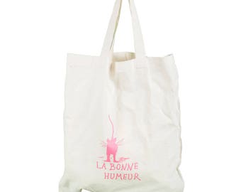 "Bag, Cotton Shopping Bag, Shoulder Bag Pink, Cat Sketch ""LA BONNE HUMEUR"""