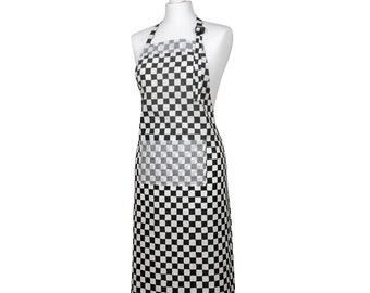 Black and white gingham apron
