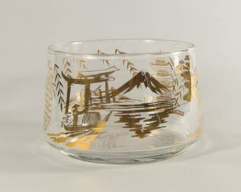 Vintage Glass Bowl with Gold Asian Scenes