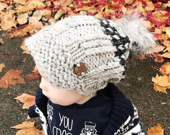 "Slouchy Toddler Toque with Visor (21""/53 cm ) Knitted Hat 