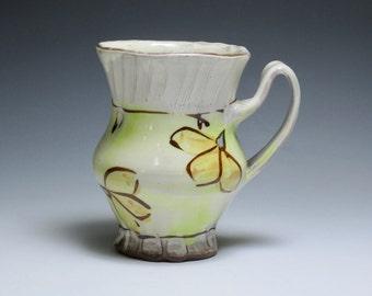 Green & Gold Floral Mug. Dinnerware, Red Earthenware Clay, Handmade Pottery, Floral Mug, Handmade Mug, Handmade Ceramic Mug