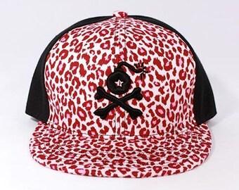 2 Styles - Cheetah Print 2 Tone Snapback Hat with Stangl Bomb logo