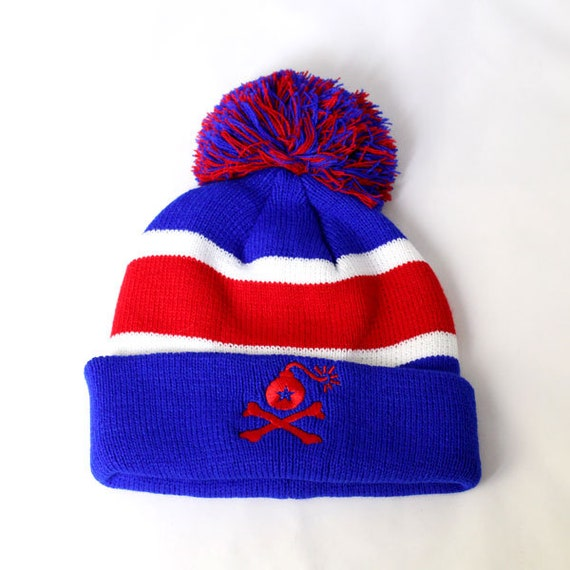 Solid Knit Cuffed Pom Beanie Hat with Stangl Bomb Logo 3 Styles