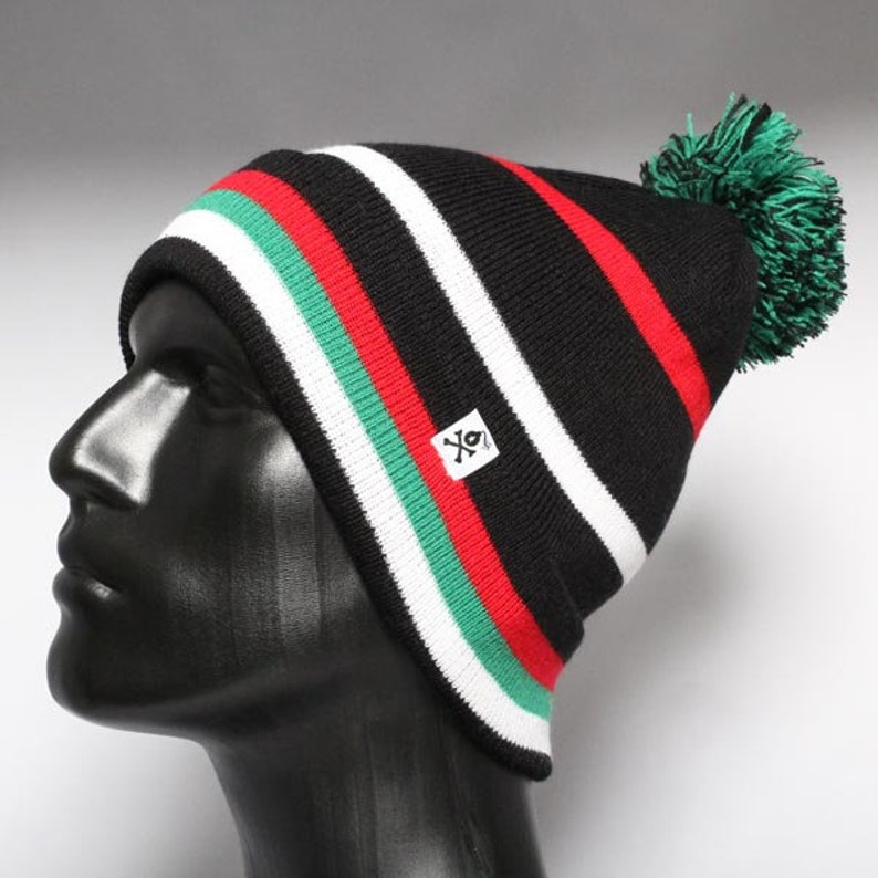 616951814a8 4 Styles Triple Stripe Cuffed Pom Beanie Hat with Stangl