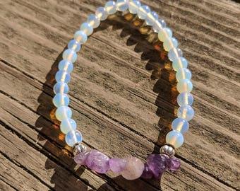 Amethyst & Moonstone Beaded Bracelet