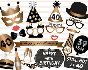 Printable 40th Birthday Party Photo Booth Props Gold Black Forty Instant Download Prop 0002