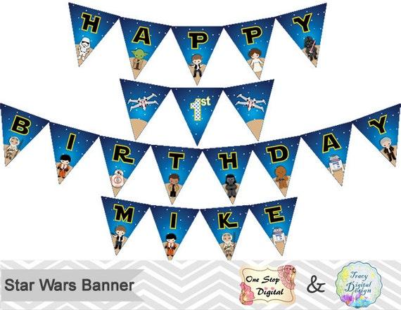 Star Wars para imprimir Banner Banner fiesta de cumpleaños de   Etsy