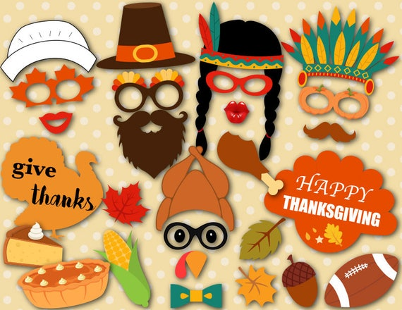 Printable Thanksgiving Photo Booth Props Thanksgiving Party Etsy