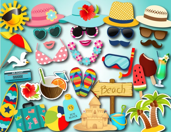 Instant Download Hawaiian Photobooth Props Summer Party Photo Booth Props Printable Beach Party Photo Booth Props Pool Party Props 0074