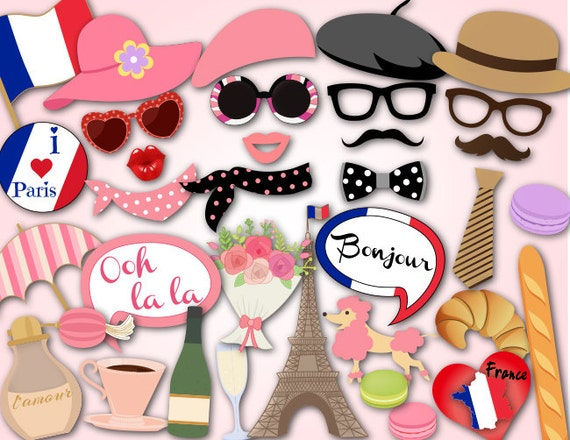 Printable Paris Party Photo Booth Props I Love France Travel Etsy
