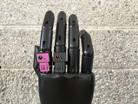 Pink Adjustable Robot Rings