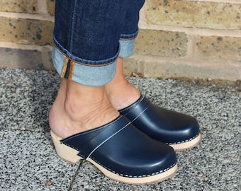 Swedish Clogs Sweden Classic Blue PU Leather by Lotta from Stockholm / Wooden Clogs / Handmade / Mules / Low Heel Shoes / lottafromstockholm