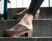 Swedish Clogs High Heel Classic Leopard Leather by Lotta from Stockholm Wooden Scandinavian Mules Shoes Sweden clog sandals