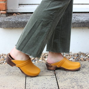 Swedish Clogs Classic Tan Leather by Lotta from Stockholm  Wooden Clogs  Handmade  Mules  Low Heel Shoes  Scandinavian  Unisex  Mens