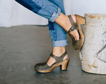 c1f361bab52ef3 Swedish Clogs Sweden Highwood T-Bar Taupe Brown Base Leather by Lotta from  Stockholm   Wooden Clogs   Sandals   High Heel   Mary Jane Shoes