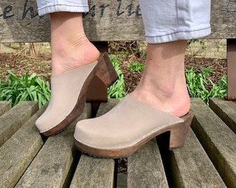 NEW Swedish Clogs High Heel Classic Oatmeal Oiled Leather by Lotta from Stockholm / Wooden / Mules / Shoes / Sweden / lottafromstockholm