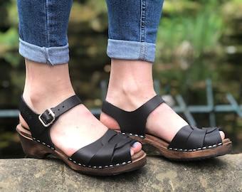 Swedish Clogs Low Heel Peep Toe Black Leather by Lotta from Stockholm / Wooden Clogs / Flat / Open / Sweden / lottafromstockholm