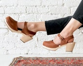 Swedish Clogs Sweden Highwood Brown Oiled Nubuck Leather by Lotta from Stockholm Wooden Clogs High Heel Mary Jane Shoes