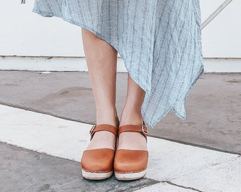 3f1aa966c41420 Swedish Clogs Highwood Tan Leather by Lotta from Stockholm   Wooden Clogs    Summer Sandals   High Heel   Mary Jane Shoes   Made in Sweden
