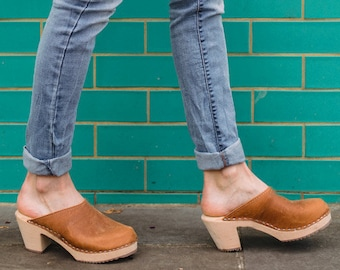 b9b9dde6d5e Swedish Clogs High Heel Classic Brown Oiled Nubuck on Natural Base Leather  by Lotta from Stockholm   Wooden   Handmade   Mules